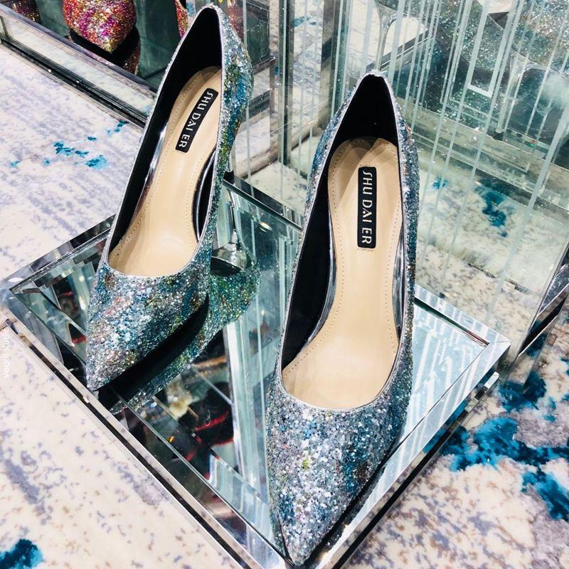 Charming Multi-Colors Evening Party Pumps 2019 Sequins 8 cm Stiletto Heels Pointed Toe Pumps
