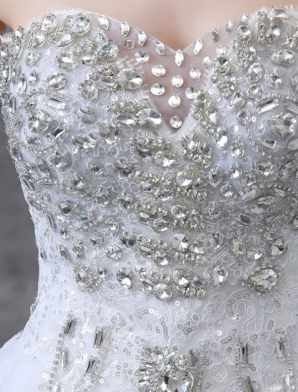 2015 Glitter Schatz Pailletten Strass Bodenlangen Spitze Ballkleid Brautkleid