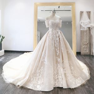 Luxury / Gorgeous Champagne Wedding Dresses 2019 Ball Gown Off-The-Shoulder Short Sleeve Backless Appliques Lace Pearl Rhinestone Glitter Sequins Cathedral Train Ruffle