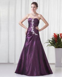 Sweetheart Floor Length Applique Beading Pleated Taffeta Women Prom Dress