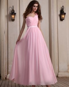 Mouwloze Chiffon Ruches Een Schouder Roze Vloerlengte Roze Avond Feestjurken