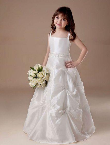 Biała Suknia Balowa Bez Rękawów Satynowa Sukienki Dla Dziewczynek Sukienki Komunijne