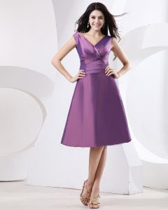 Sheath V-Neck Mini Short Taffeta Bridesmaids Dresses