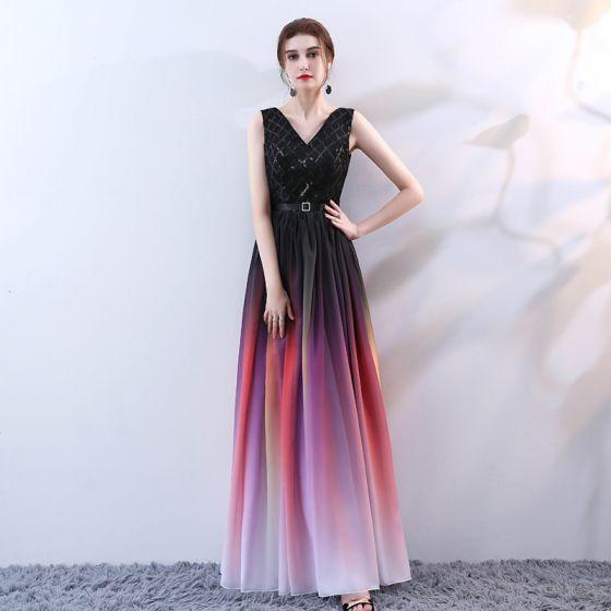f38256e275 Stylowe   Modne Multi-Kolory Długie Sukienki Wieczorowe 2018 Princessa  V-Szyja Tiulowe Bez Pleców Frezowanie Cekiny ...