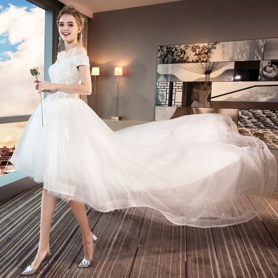 3dae4b27bbd High Low Summer White Beach Wedding Dresses 2018 A-Line   Princess Off-The-Shoulder  Short Sleeve ...