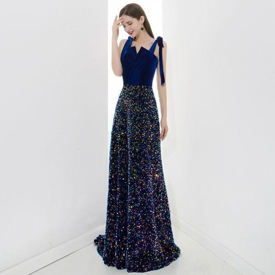 Scintillantes Bleu Roi Robe De Soirée 2020 Princesse Daim Bretelles Spaghetti Paillettes Sans Manches Dos Nu Longue Robe De Ceremonie