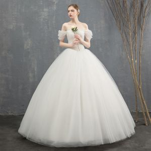 Elegant Ivory Wedding Dresses 2018 Ball Gown Lace Flower Off-The-Shoulder Backless Sleeveless Floor-Length / Long Wedding