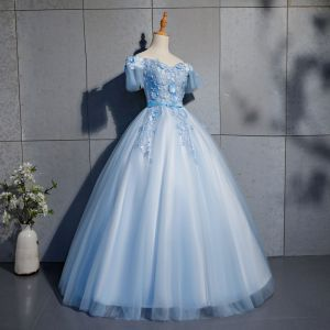 Elegant Sky Blue Prom Dresses 2019 Ball Gown Lace Appliques Bow Off-The-Shoulder Backless Short Sleeve Floor-Length / Long Formal Dresses
