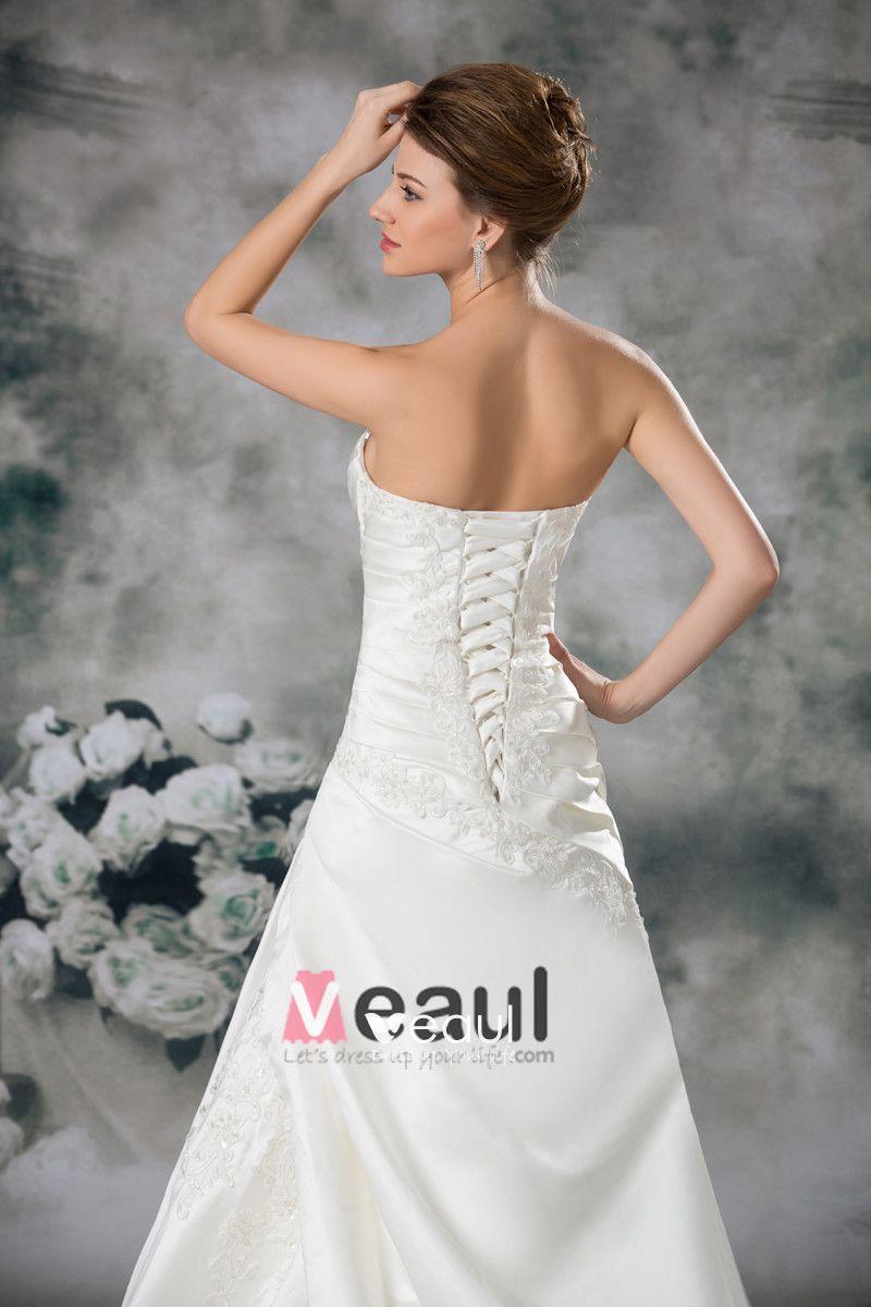 Satin Applique Ruffle Court Train Sweetheart Ball Gown Women A Line Wedding Dress