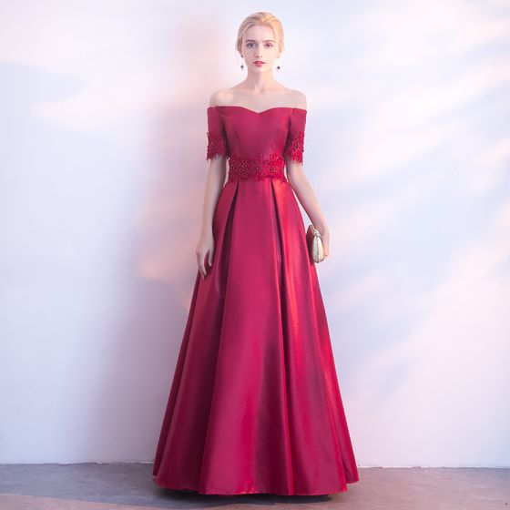 Proste / Simple Burgund Sukienki Wieczorowe 2017 Princessa Przy Ramieniu Kótkie Rękawy Aplikacje Z Koronki Perła Długie Bez Pleców Sukienki Wizytowe