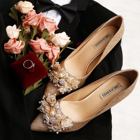 Błyszczące Złote Buty Ślubne 2019 Skórzany Z Koronki Kwiat Cekiny Perła Rhinestone 9 cm Szpilki Szpiczaste Ślub Czółenka