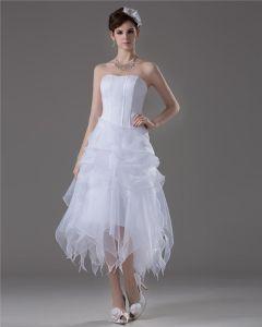 A Linie Trägerlosen Knöchellangen Satin Kurzen Hochzeitskleid