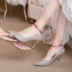 Sparkly Rose Gold Sequins Wedding Shoes 2020 8 cm Stiletto Heels Pointed Toe Wedding Pumps