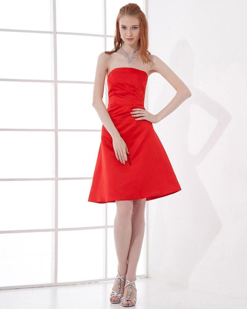 Fashion Satin Pleated Strapless Thigh Length Bridesmaid Dress