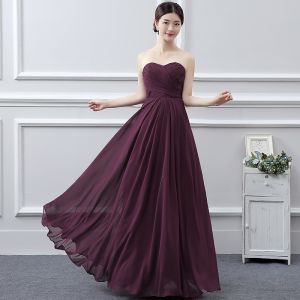 Classic Bridesmaid Dresses 2017 Grape A-Line / Princess Floor-Length / Long Sweetheart Sleeveless Backless Wedding Party Dresses