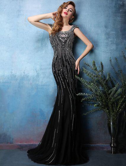 Vestidos De Noche Negro 2016 Sexy Cristal Rhinestone Brillante Abalorios Sin Respaldo Sirena