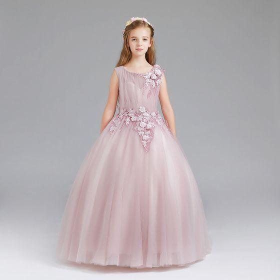 Schöne Rosa Mädchenkleider 2017 Ballkleid Rundhalsausschnitt Ärmellos Applikationen Blumen Lange Rüschen Kleider Für Hochzeit
