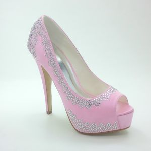 Sprankelende Roze Bruidsschoenen Satijnen Stiletto Pumps Met Strass