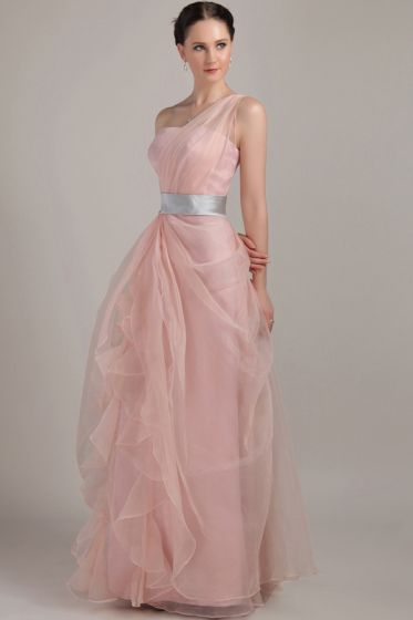 2015 Smooth Sleeveless Pink One Shoulder long Evening Dresses