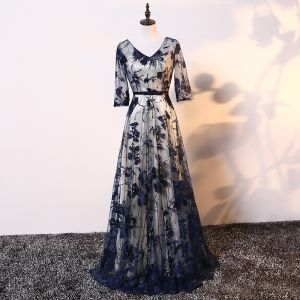 Elegant Champagne Navy Blue Mother Of The Bride Dresses 2017 A-Line / Princess V-Neck 3/4 Sleeve Appliques Lace Bow Sash Floor-Length / Long Wedding Party Dresses
