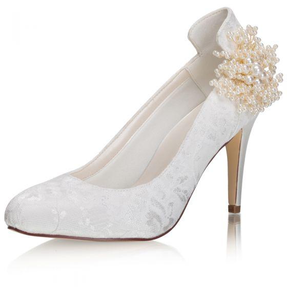 Eleganta Elfenben Satin Spets Pärla Brudskor 2021 8 cm Stilettklackar Spetsiga Bröllop Pumps Högklackade