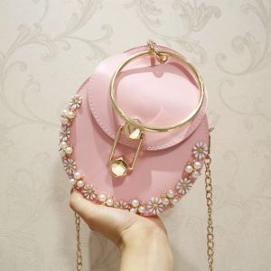 Chic / Beautiful Blushing Pink Pearl Flower Clutch Bags 2018