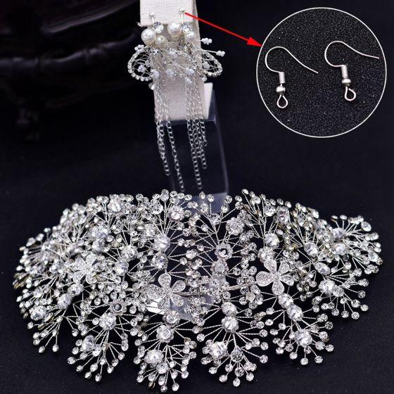 Elegant Silver Alloy Bridal Jewelry 2021 Headpieces Tassel Earrings Rhinestone Flower Wedding Accessories