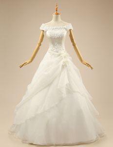 Urzekające Off Aplikacje Koronkowe Suknie Ślubne Ramię Frezowanie Suknia Ślubna