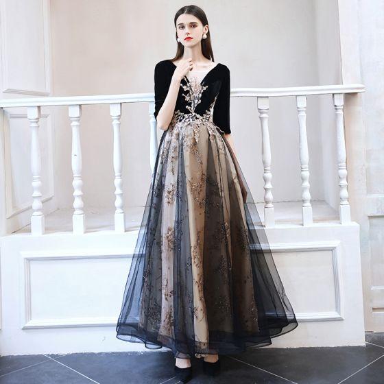 Elegant Black Dancing Prom Dresses 2021 A-Line / Princess See-through Deep V-Neck 1/2 Sleeves Appliques Sequins Floor-Length / Long Ruffle Backless Formal Dresses