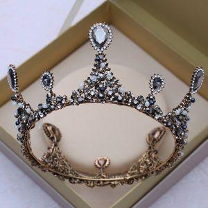 Vintage / Retro Baroque Black Tiara 2018 Metal Rhinestone Crystal Wedding Accessories