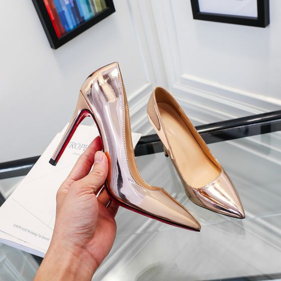 Chic / Beautiful Champagne Office OL Pumps 2020 Patent Leather 10 cm Stiletto Heels Pointed Toe Pumps