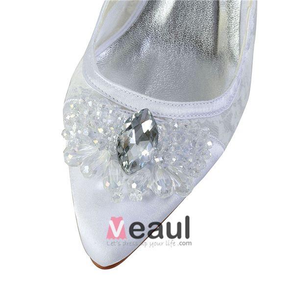 Elegante Weiße Brautschuhe Schnüren Stilettos Sandalen Pumps Mit Pailletten Strass