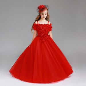 Chic / Beautiful Red Flower Girl Dresses 2017 Ball Gown Off-The-Shoulder Short Sleeve Appliques Flower Pearl Floor-Length / Long Ruffle Wedding Party Dresses