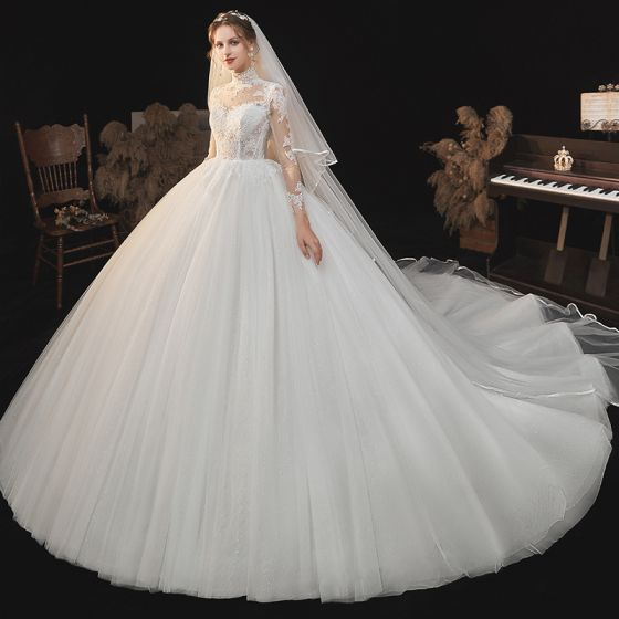 Illusion Ivory See-through Lace Flower Wedding Dresses 2021 Ball Gown High Neck 3/4 Sleeve Backless Cathedral Train Wedding