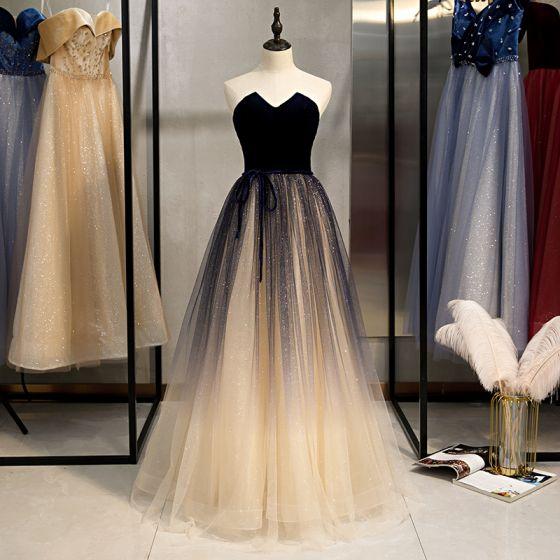 Elegante Champán Vestidos de gala 2020 A-Line / Princess Glitter Tul Suede Sin Tirantes Bowknot Sin Mangas Sin Espalda Largos Vestidos Formales