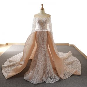Stunning Champagne See-through Wedding Dresses 2019 Trumpet / Mermaid Scoop Neck Long Sleeve Backless Glitter Appliques Lace Chapel Train Ruffle