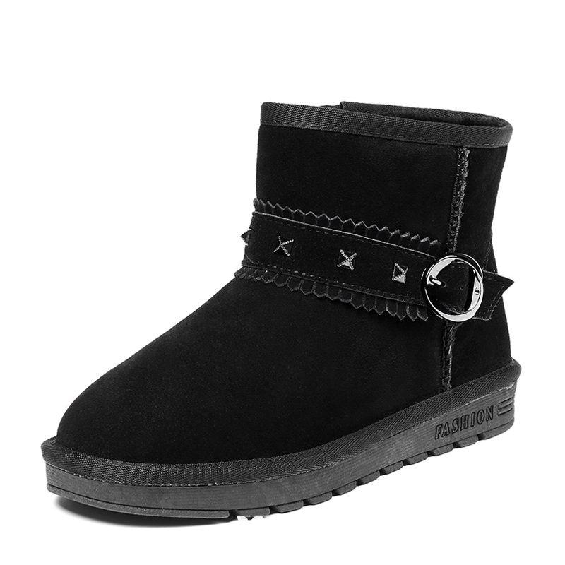 Mode Stövlar Dam 2017 Svarta Läder Stövletter Mocka Spänne Casual Vinter Platt Snow Boots