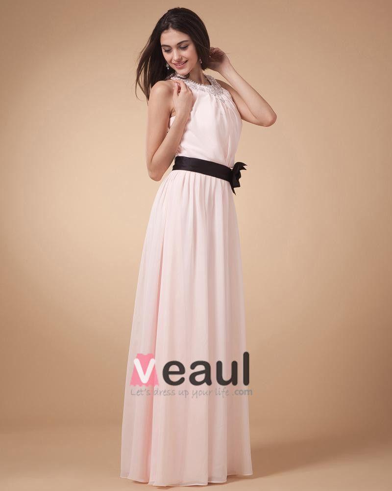Graceful Strapless Chiffon Floor Length Bridesmaid Dress Gown