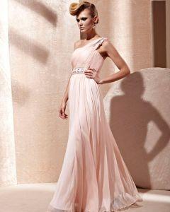 Silk Tulle Charmeuse One Shoulder Neckline Bead Floor Length Evening Dress