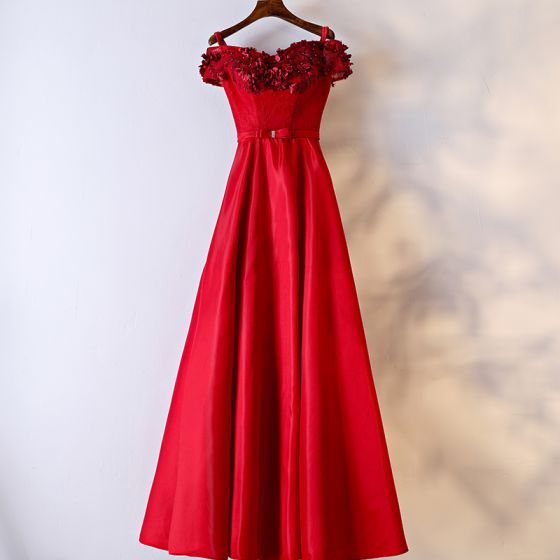 Chic / Beautiful Red Formal Dresses Evening Dresses  2017 Lace Flower Bow Pearl Shoulders Short Sleeve Floor-Length / Long A-Line / Princess Artificial Flowers