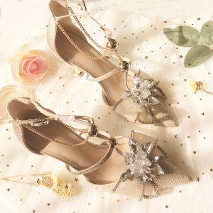 Encantador Champán Crystal Zapatos de novia 2020 Rhinestone T-Correa 8 cm Stilettos / Tacones De Aguja Punta Estrecha Boda Tacones