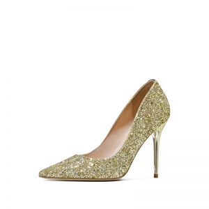Glitzernden Gold Pailletten Abend Pumps 2020 10 cm Stilettos Spitzschuh Pumps