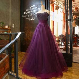 Chic / Belle Grape Robe De Bal 2018 Princesse Amoureux Sans Manches Perle Perlage Ceinture Longue Volants Dos Nu Robe De Ceremonie
