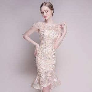 Bling Bling Champagne See-through Party Dresses 2018 Scoop Neck Short Sleeve Glitter Sequins Asymmetrical Ruffle Formal Dresses
