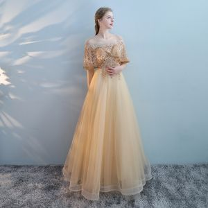 Charming Gold See-through Prom Dresses 2018 A-Line / Princess Scoop Neck Short Sleeve Pearl Beading Rhinestone Floor-Length / Long Ruffle Backless Formal Dresses