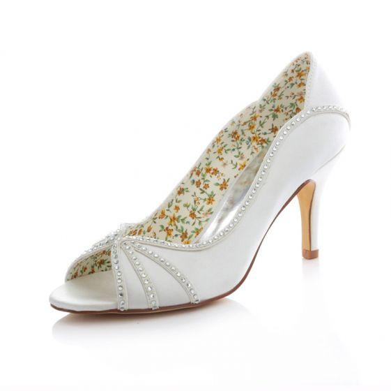 Elegant White Satin Bridal Shoes 3 Inch High Heels Stiletto Pumps