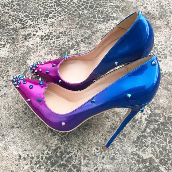 Chic / Beautiful Gradient-Color Evening Party Pumps 2019 Rivet 12 cm Stiletto Heels Pointed Toe Pumps