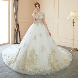 Chinese style Illusion Ivory Wedding Dresses 2018 Ball Gown High Neck Cap Sleeves Backless Beading Gold Appliques Lace Royal Train