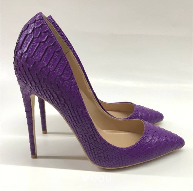 Chic / Beautiful Grape Evening Party Pumps 2019 Polyester Patent Leather 12 cm Stiletto Heels Pointed Toe Pumps