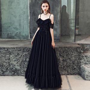 Niedrogie Czarne Sukienki Na Bal 2019 Princessa Spaghetti Pasy Kótkie Rękawy Aplikacje Z Koronki Długie Wzburzyć Bez Pleców Sukienki Wizytowe